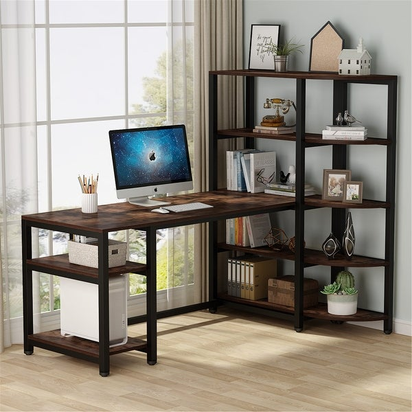 67'' Computer Desk with 5 Tier Storage Shelves, Writing Desk with Bookcase. Opens flyout.