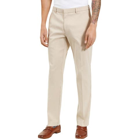 Tommy Hilfiger Mens Tate Dress Pants Checkered Flex - Tan/White