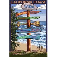 Ventura, CA - Dest Sign - LP Artwork (Art Print - Multiple Sizes Available)