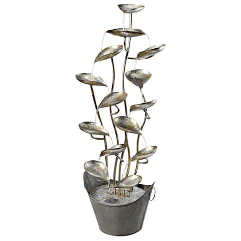Design Toscano Rain Forest Leaves Cascading Metal Fountain