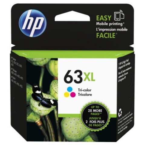 HP 63XL Tri-Color Ink Cartridge, High-Yield F6U63AN