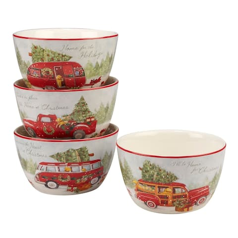 """4pc White and Red Home for Christmas Ice Cream Bowl Set 5.5"""""""