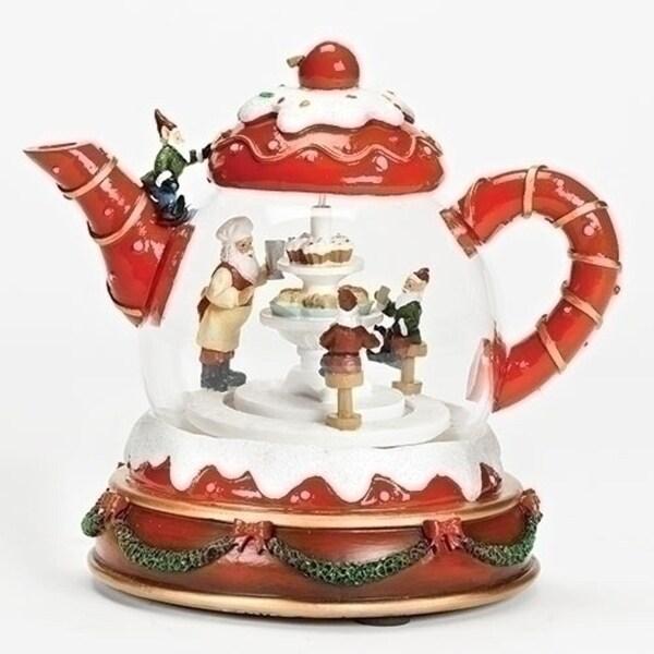 """Set of 2 Christmas LED Musical Rotating Teapot 6.75"""""""