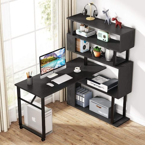 Rotating Computer Desk with Storage Bookshelf Reversible L Shaped Desk