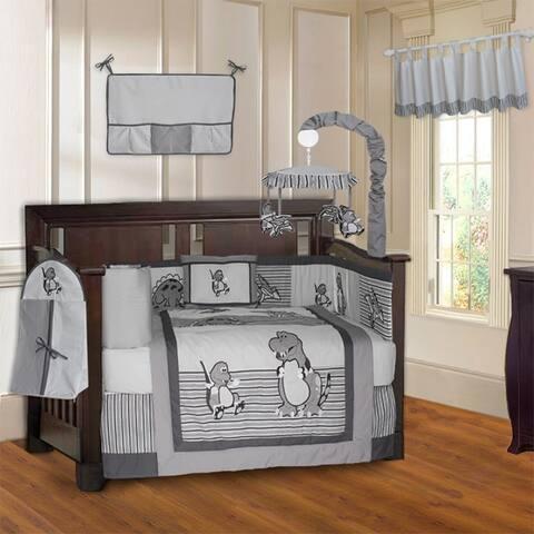 BabyFad Dinosaur Grey10 Piece Baby Crib Bedding Set