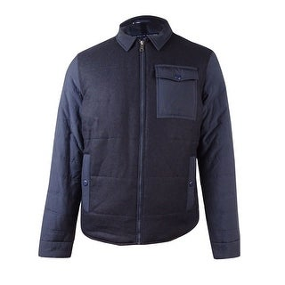 Tommy Hilfiger Men's Mixed-Media Colorblocked Bomber Jacket (L, Navy) - Navy - L