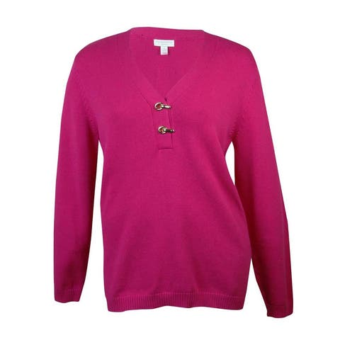 Charter Club Women's Clasp Detail V-Neck Knit Sweater