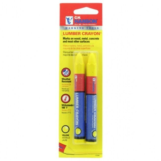 C. H. Hanson 10386 Lumber Marking Crayon, Yellow, 2-Pack