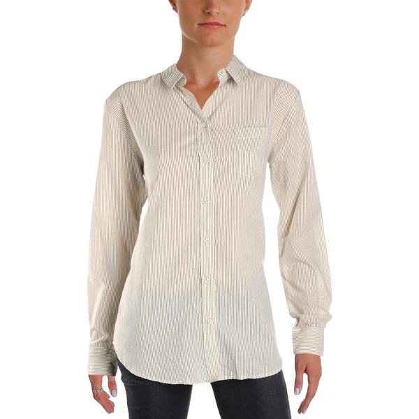 French Connection Womens Winona Button-Down Top Striped Long Sleeve