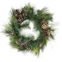 "30"" Artificial Mixed Pine with Pine Cones and Gold Glitter Christmas Wreath - Unlit - green"