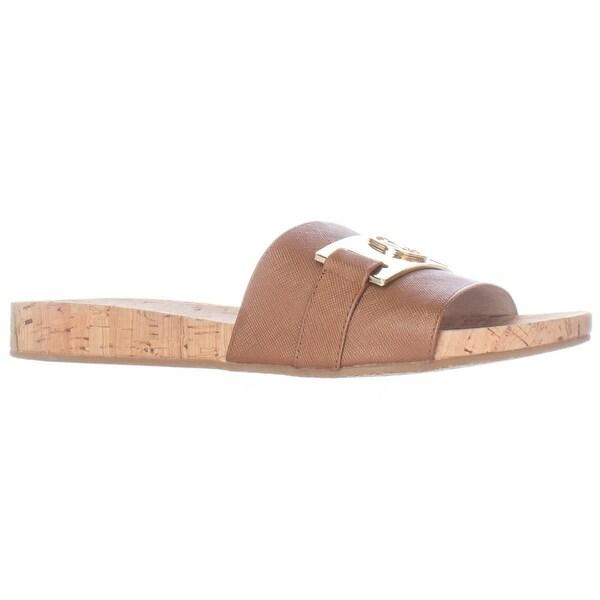 MICHAEL Michael Kors Warren Cork Slide Sandals - Luggage