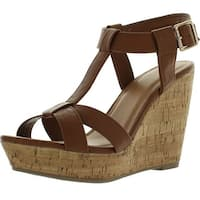 Delicious Womens Johanna T-Strap Cork Platform Wedge Sandals - Black