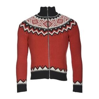 Ralph Lauren Petite Ladies Full-Zip Nordic Fair Isle Sweater Red Medium M