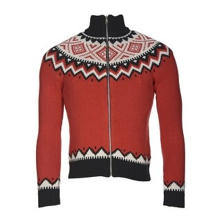 Ralph Lauren Petite Ladies Full Zip Nordic Fair Isle Sweater Red X-Small P/PT - XS