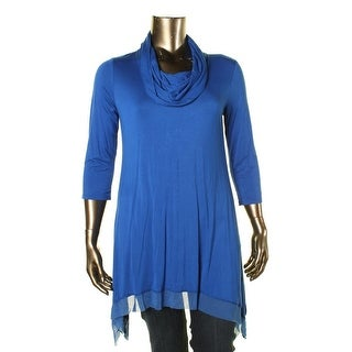 Cable & Gauge Womens 3/4 Sleeves Cowl-Neck Tunic Top - XL
