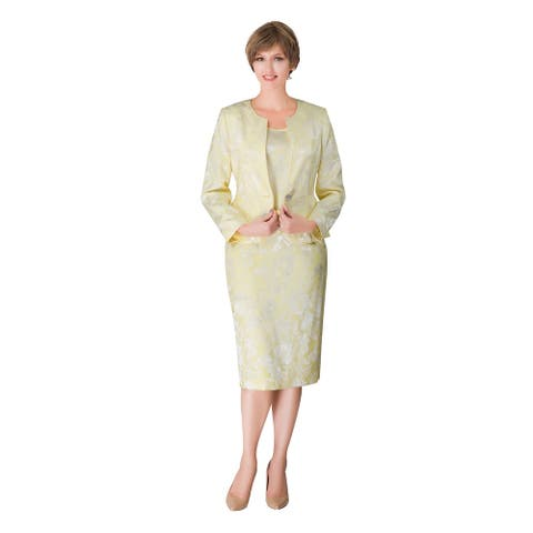 Giovanna Signature 3-pc Lemon Yellow Brocade Suit
