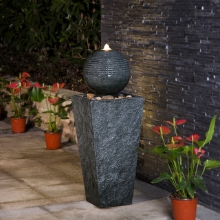 Link to Demta Floating Sphere Fountain with LED Light by Havenside Home Similar Items in Outdoor Decor