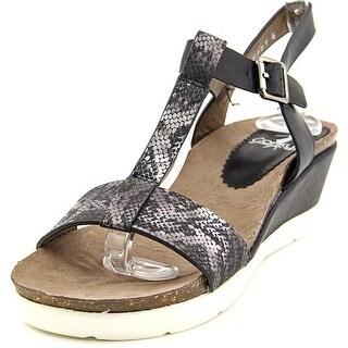 Corkys Fast Women Open Toe Synthetic Black Wedge Sandal