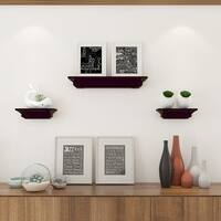 Costway Set of 3 Fireplace Mantel Shelf Ledge Floating Wall Mounted Shelves Decoration - Brown