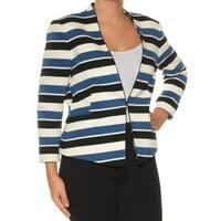 Womens Blue Black Striped Wear To Work Blazer Jacket  Size  6