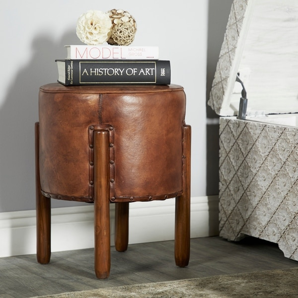 Brown Teak Traditional Stool 20 x 17 x 17 - 17 x 17 x 20Round. Opens flyout.