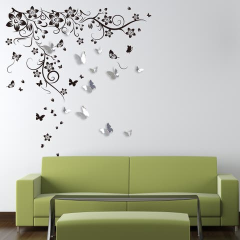 Walplus New Huge Butterfly Vine 3D Mirror Butterfly Sticker Home Décor