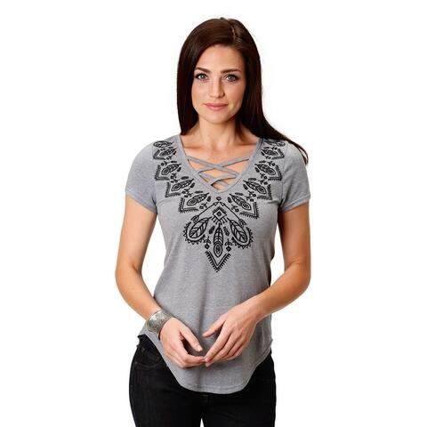 Roper Western Shirt Womens Short Sleeve Swing Gray
