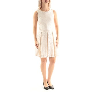 Womens Ivory Sleeveless Above The Knee Sheath Formal Dress Size: 5