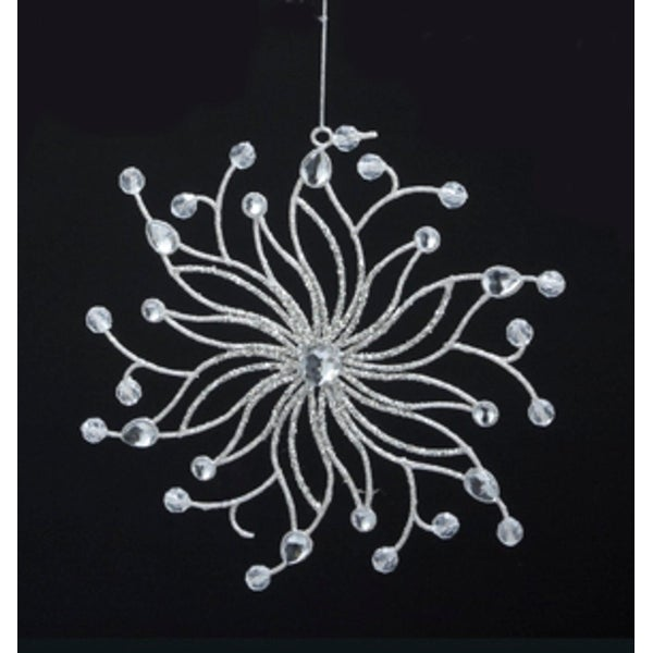 """7.5"""" Sparkling Whites Snowflake with Faceted Gem Center Christmas Ornament"""