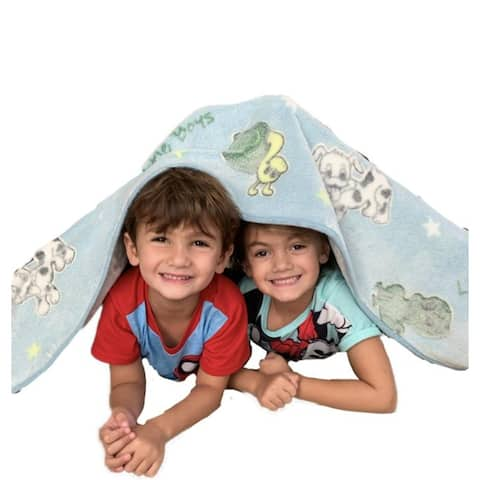 Glow in The Dark Blankets - Little Girls Sugar, Spice, & Everything Nice - Little Boys Frogs, Snails, and Puppy-Dogs Tails