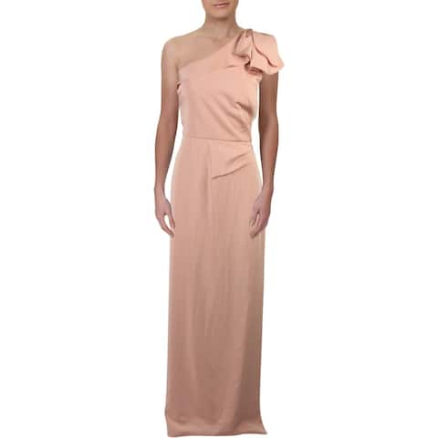 Kay Unger New York Womens Evening Dress Ruffled One Shoulder - Pink