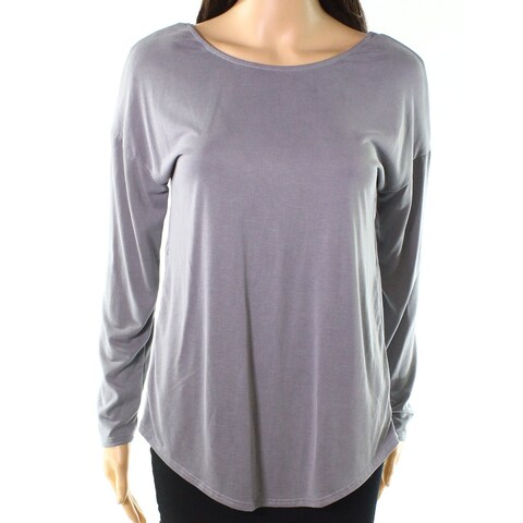 Moa Moa Silver Gray Women's Size XS Twist-Back Solid Knit Top