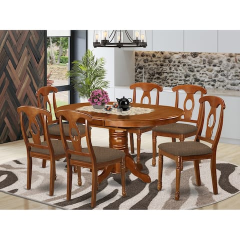 7-piece Dining Set- Oval Table with Leaf and 6 Dining Chairs in Saddle Brown Finish