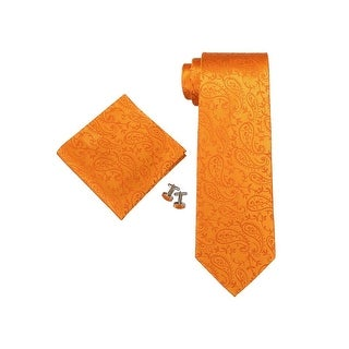 Men's Orange 3.25 Inch Floral 100% Silk Neck Tie Set TheDapperTie 1844G