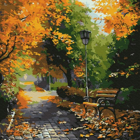 In The Autumn Park Paint-by-Number Kit for Kids & Adults