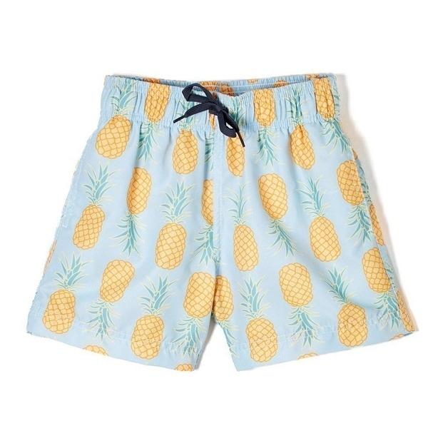 c48709b315 Azul Little Boys Light Blue Yellow Pineapple Drawstring Waist Swim Shorts