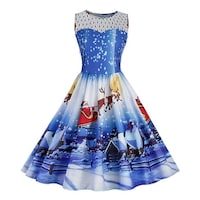 women christmas print lace pin up swing lace party panel dress