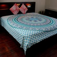 Elephant Mandala Tapestry Wall Hanging 100% Cotton Tablecloth Bedspread Throw Beach Sheet Turquoise Twin Full