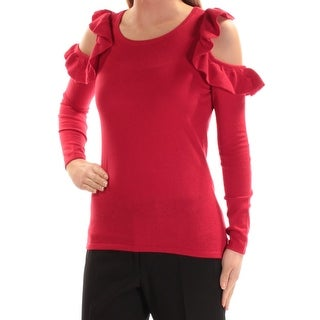 Link to INC Womens Red Ruffled Long Sleeve Jewel Neck Top  Size XS Similar Items in Tops