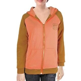 Unique Bargains Ribbed Hem Raglan Sleeve Brown Orange Zipper Coat Sz S