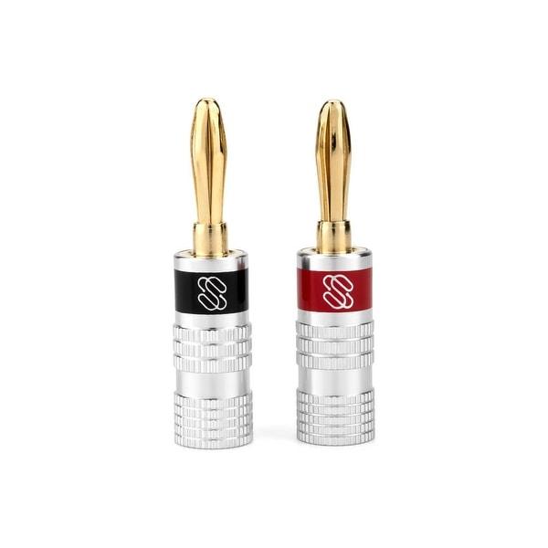 Sewell Silverback Banana Plugs, 24k Gold Dual Screw Lock Speaker Connector, 6 Pairs
