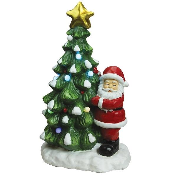 """21.25"""" Christmas Morning LED Lighted Musical Santa and Christmas Tree Tabletop Figure"""