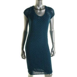 Tracy Reese Womens Checkered Knit Cocktail Dress - S