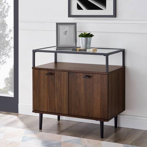 Carson Carrington 2-Door Glass Top Side Table