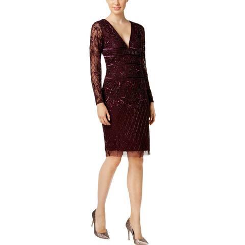 0e18c04aca3 Adrianna Papell Womens Cocktail Dress Beaded Above Knee