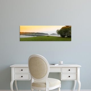 Easy Art Prints Panoramic Images's 'Bench at the lakeside, Forggensee Lake, Bavaria, Germany' Premium Canvas Art
