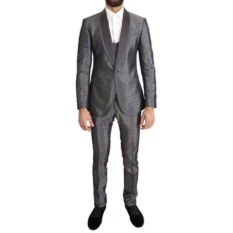Dolce & Gabbana Silver Silk Baroque Single Breasted Men's Suit