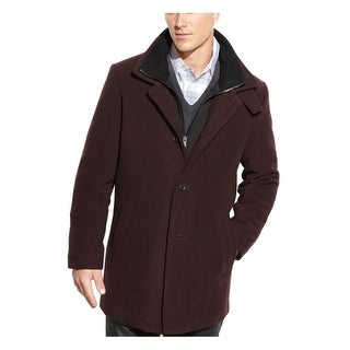 Calvin Klein Coleman Full Zip Bib Burgundy Coat 46 Regular 46R Wool Blend