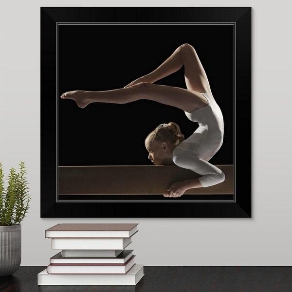 """Gymnast on balance beam"" Black Framed Print"