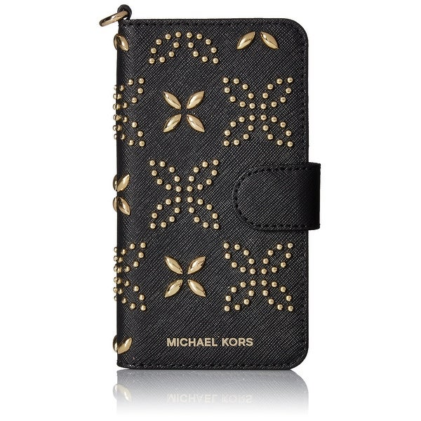Michael Kors NEW Black Studded Embossed Saffiano Folio Iphone 7 Wallet
